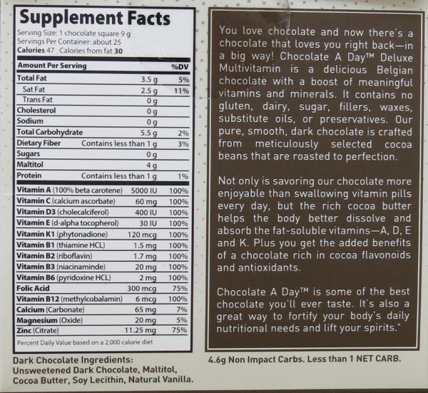 chocolate a day ingredient list
