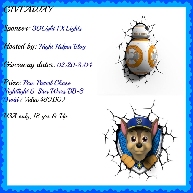 Paw Patrol Chase Nightlight & Star Wars BB-8 Droid Giveaway