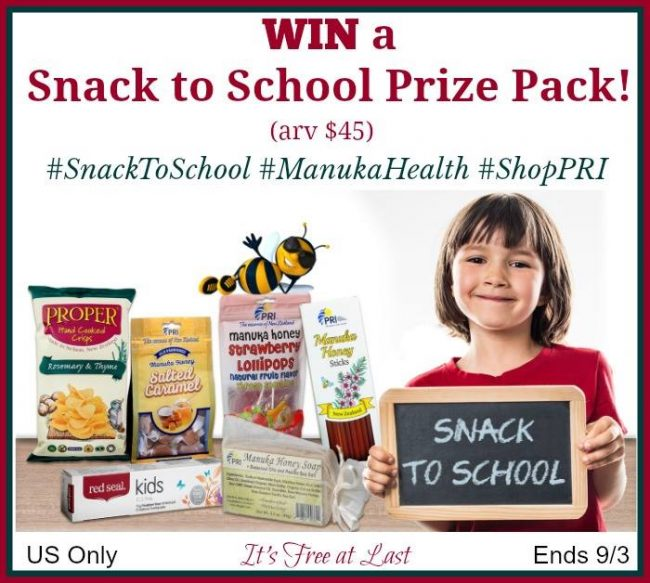 Manuka Honey Snack to School Prize Pack from PRI Giveaway