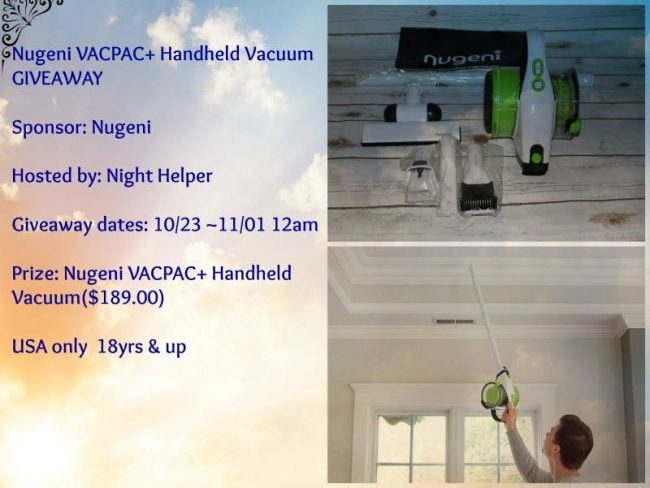 Nugeni VACPAC+ Handheld Vacuum Giveaway