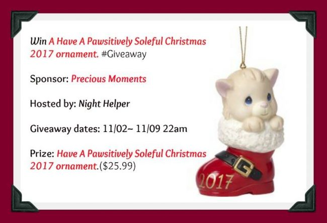 Have A Pawsitively Soleful Christmas 2017 ornament Giveaway