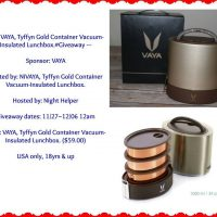 VAYA, Tyffyn Gold Container Vacuum-Insulated Lunchbox Giveaway