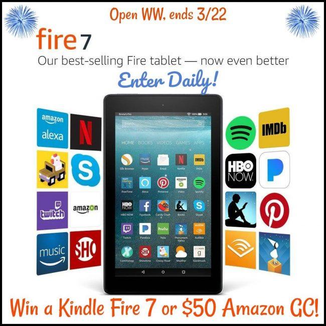 Kindle Fire 7 or $50 Amazon GC Giveaway