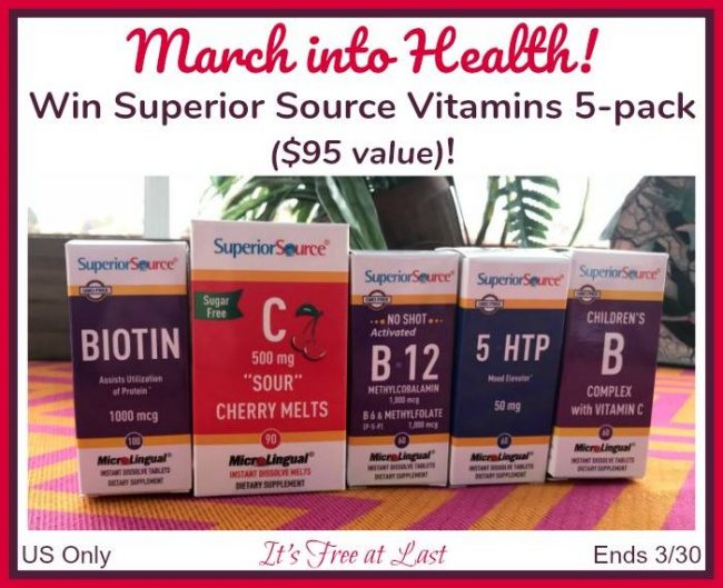 Superior Source Vitamins 5-pack Giveaway