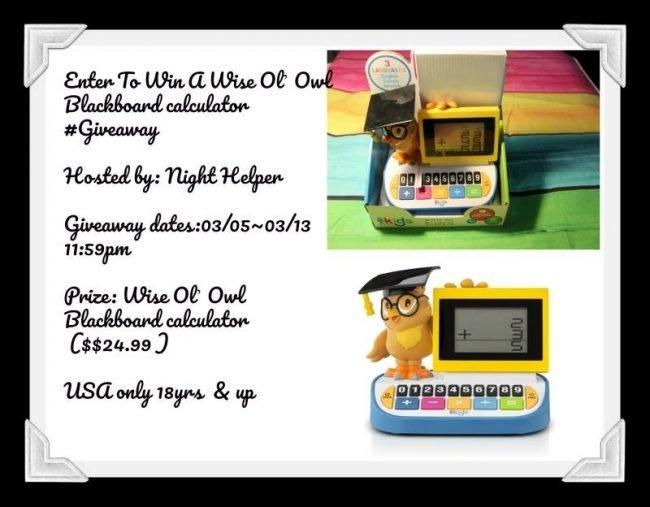 Wise Ol' Owl Blackboard Calculator #Giveaway