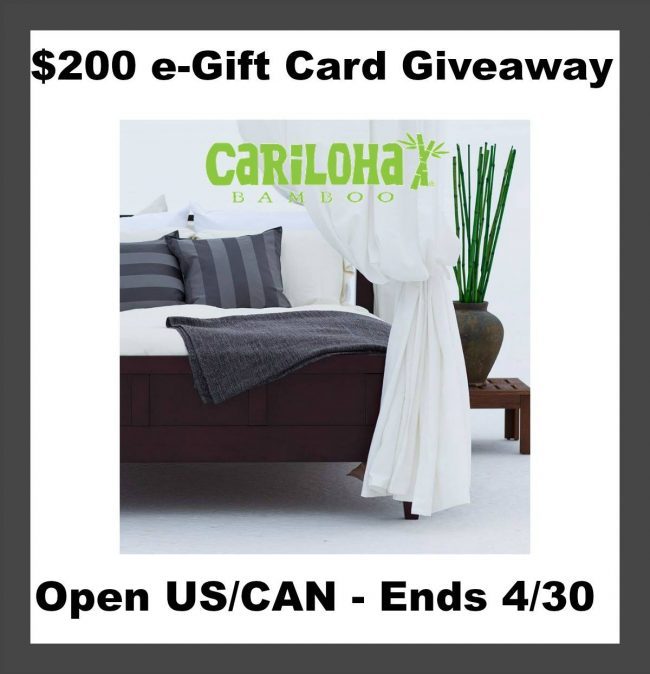 $200 Cariloha Bamboo E-gift Card Giveaway
