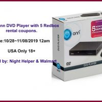 Win A ONN DVD player with 5 Redbox rental coupons @Walmart @RedBox - 2 Winners