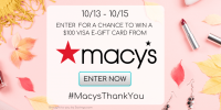 Enter to Win 1 of 5 e-gift cards from Macy's #MacysThankYou